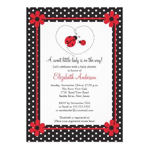Pink Ladybug Baby Shower Personalized Invitations