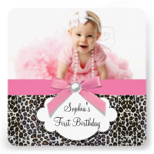 Pink Zebra Print Girls 1st Birthday Invitation: Girls Pink Leopard Birthday Party 5.25x5.25 Square Paper