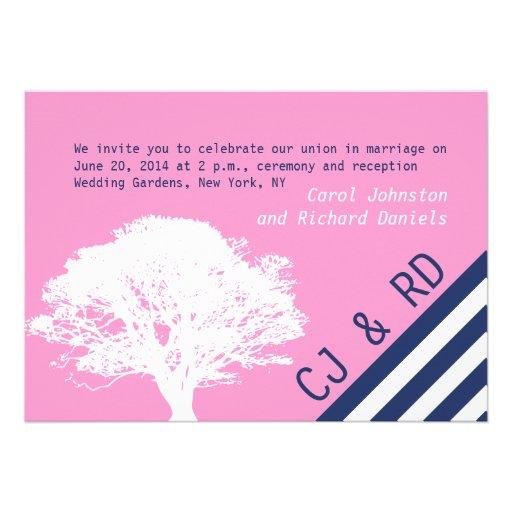 "Navy Blue Wedding Invitations Modern: Pink Navy Blue Preppy Oak Tree Wedding Invitation 5"" X 7"