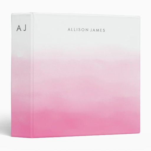Pink Ombre 3 Ring Binder