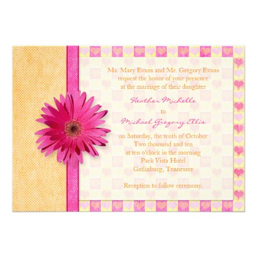 "Pink Orange Gerbera Daisy Wedding Invitation 5"" X 7"