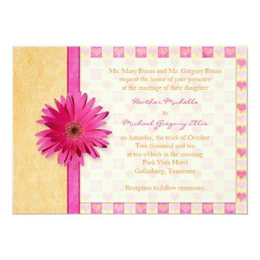 Gerbera Wedding Invitations: Pink Orange Gerbera Daisy Wedding Invitation
