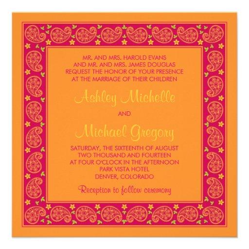 "Pink Orange Wedding Invitations: Pink Orange Paisley Floral Wedding Invitation 5.25"" Square"