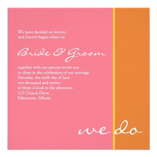 Pink Orange Wedding Invitations: Pink Orange Wedding Invitation