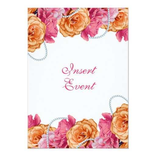 Pink Orange Wedding Invitations: Pink Orange Wedding Pearl Rose 5x7 Paper Invitation Card