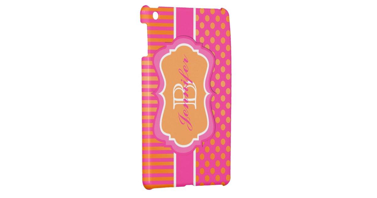 Pink Orange White Striped Polka Dot Ipad Mini Case Zazzle