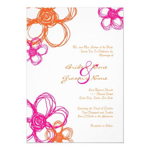 Pink Orange Wedding Invitations: Pink & Orange Wild Flowers 5x7 Wedding Invitation