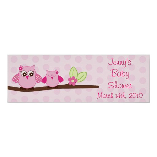 Baby Shower Custom Banners: Pink Owl Personalized Baby Shower Banner Poster