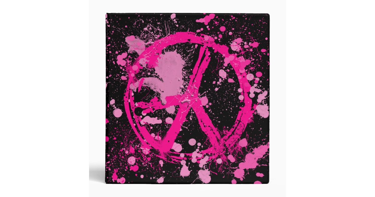 PINK PAINT SPLATTER PEACE SIGN BINDER | Zazzle
