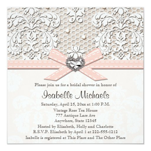 Pearl And Lace Wedding Invitations: Pink Pearl Lace Diamond Bridal Shower Invitations