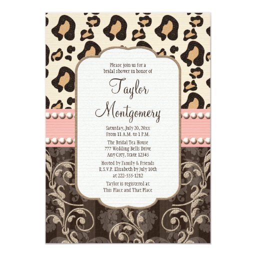 Pink pearl leopard print bridal shower invitations zazzle for Leopard print invitations templates