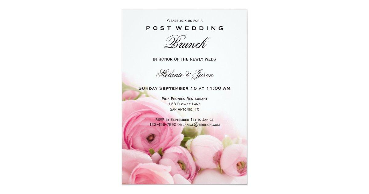 Post Wedding Brunch Invitation Wording: Pink Peonies Post Wedding Brunch Invitation