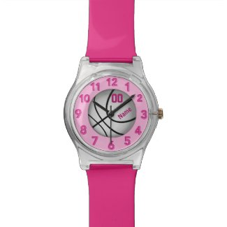 Pink PERSONALIZED Basketball Watches for Girls