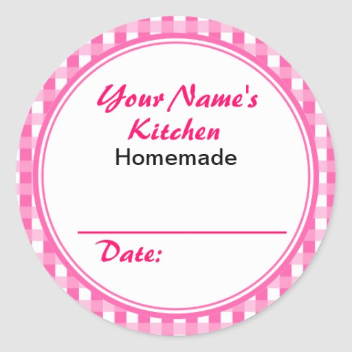 Pink Personalized Canning Labels Round Sticker