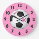 Pink Personalized Soccer Clocks with NAME & NUMBER