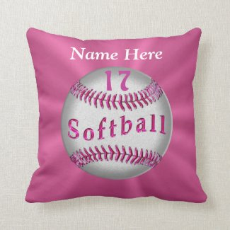 Pink Personalized Softball Pillows NAME and NUMBER