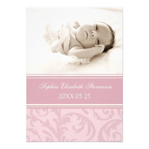 Pink Photo Template New Baby Birth Announcement 5 Quot X 7