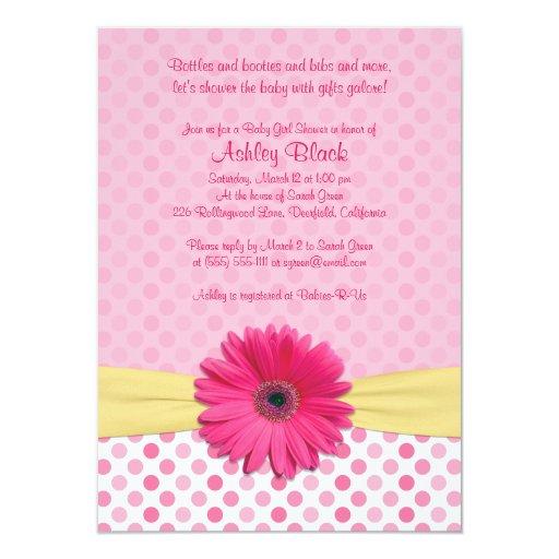 Pink Polka Dot Gerber Daisy Baby Shower Invitation
