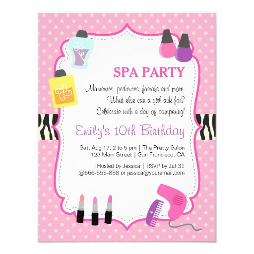 Personalized Makeup Spa Day Invitations