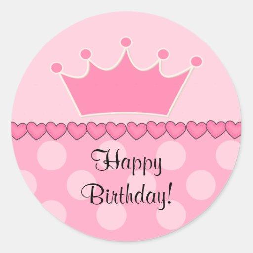 Pink Princess Crown Happy Birthday Sticker