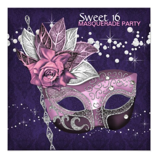 Personalized Pink Purple Masquerade Party Invitations