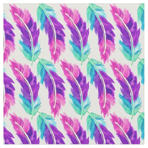 Pink Purple Teal Watercolor Feathers Pattern Fabric Zazzle