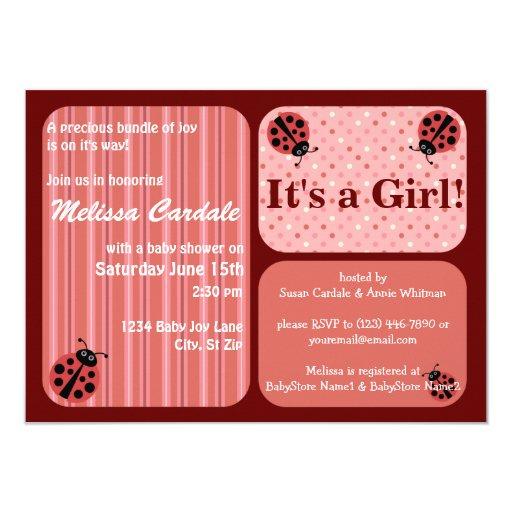Pink Red Ladybug Baby Shower Invitations Girl