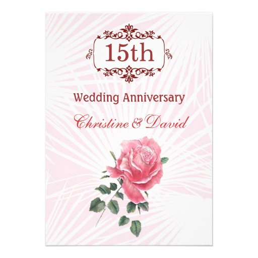 """15th Wedding Anniversary Party Ideas: Pink Rose 15th Wedding Anniversary Invitation 5"""" X 7"""