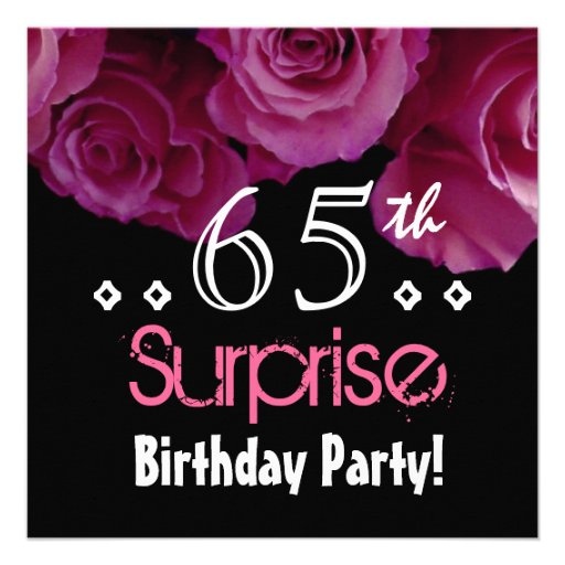 Pink Rose Bouquet 65th Surprise Birthday S001 Personalized Invitation