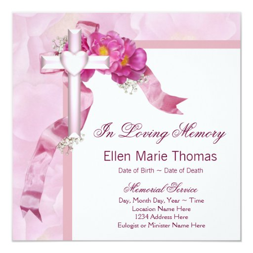 Pink rose cross in loving memory memorial card zazzle for Memory cross template