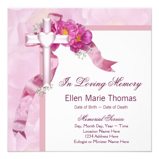Pink rose cross in loving memory memorial square for Memory cross template