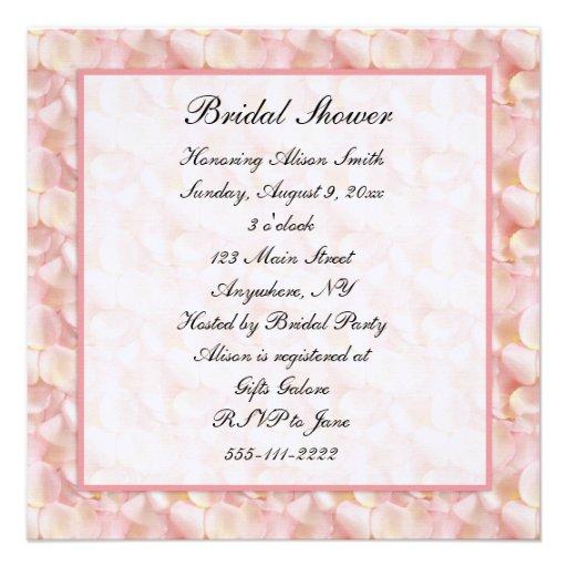"Pink Rose Petals Bridal Shower Invitation 5.25"" Square"