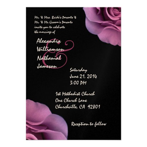 Pink Rose Petals Wedding Template 5x7 Paper Invitation