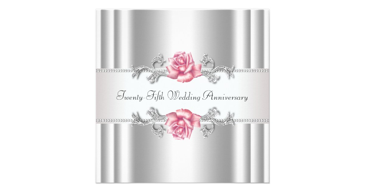 Silver 25th Wedding Anniversary: Pink Roses Silver 25th Wedding Anniversary Announcement