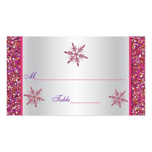 pink silver glitter snowflakes placecard double sided. Black Bedroom Furniture Sets. Home Design Ideas