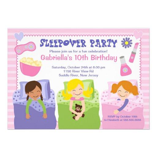 "Pink Slumber Party Fun Birthday Invitation 5"" X 7"