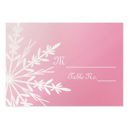 pink snowflake wedding place cards large business cards. Black Bedroom Furniture Sets. Home Design Ideas