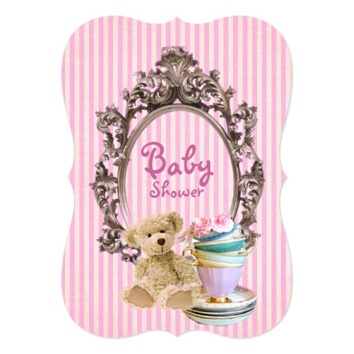 Pink Teddy Bear Baby Shower: Pink Stripes Teddy Bear Baby Shower Invitations