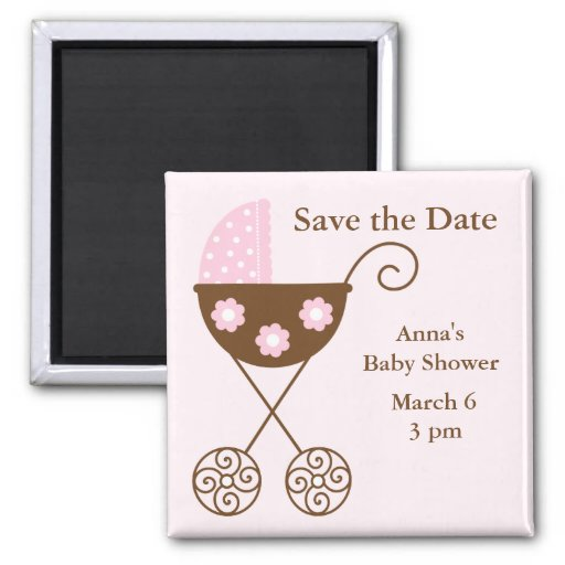 Pink Stroller Baby Shower Save The Date Refrigerator