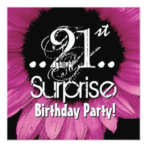 Pink Sunflower 21st Surprise Birthday Template Invitation