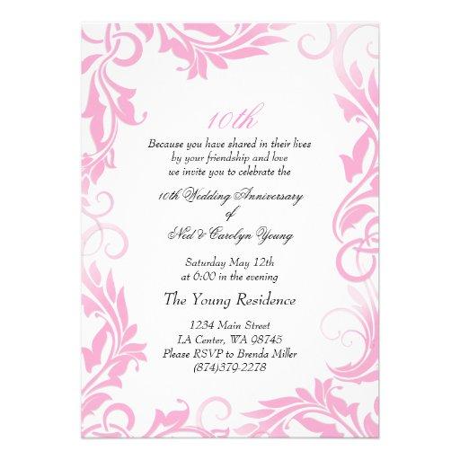 "10th Wedding Anniversary Invitations: Pink Swirl 10th Wedding Anniversary Invitation 5"" X 7"