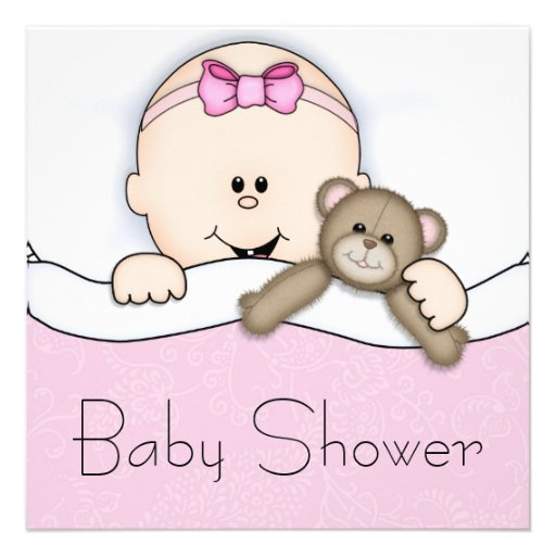 Pink Teddy Bear Baby Shower: Pink Teddy Bear Baby Girl Shower 5.25x5.25 Square Paper