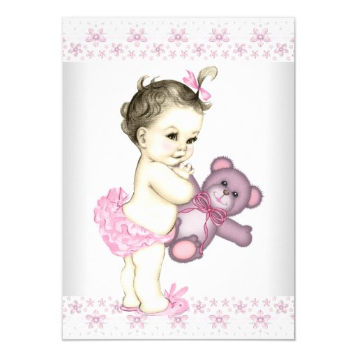 Pink Teddy Bear Baby Shower: Pink Teddy Bear Baby Shower Card
