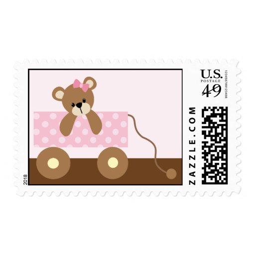 Pink Teddy Bear Baby Shower: Pink Teddy Bear Baby Shower Postage