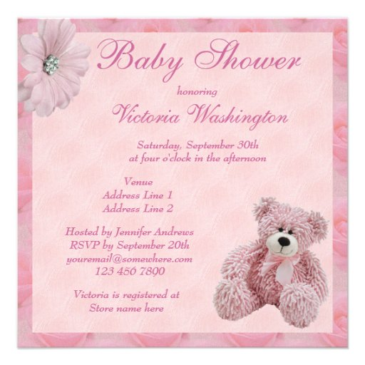 Pink Teddy Bear Baby Shower: Pink Teddy Bear & Flowers Girl's Baby Shower 5.25x5.25