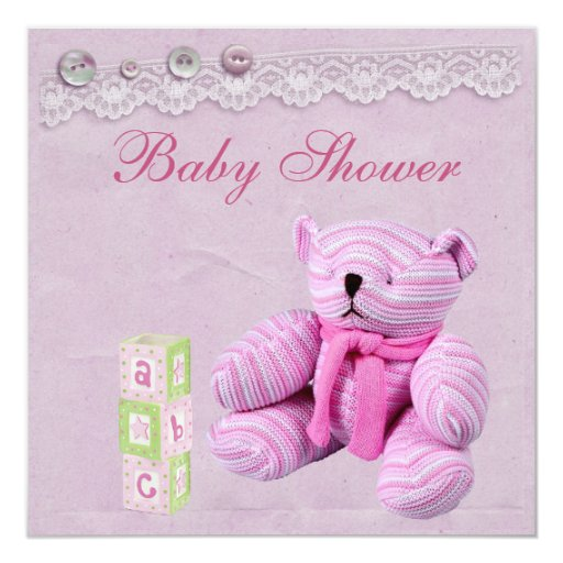 Pink Teddy Bear Baby Shower: Pink Teddy Bear Vintage Lace Baby Girl Shower Invitation