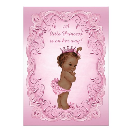 personalized pink princess baby shower invitations