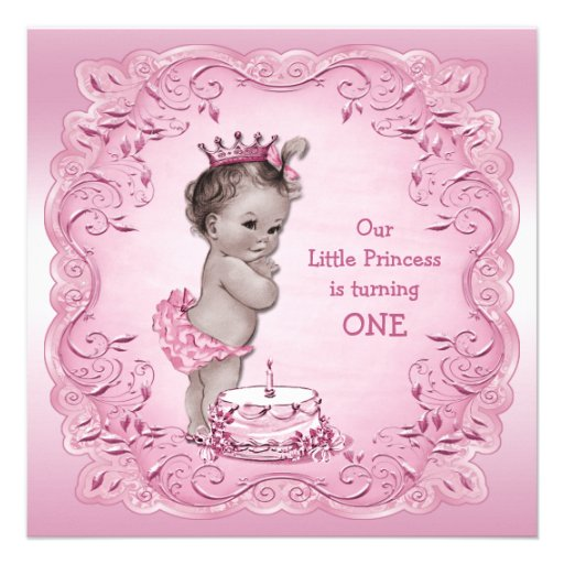 Pink And Gold Princess 1st Birthday Party Fresh Pink And: Pink Vintage Princess 1st Birthday Party 5.25x5.25 Square