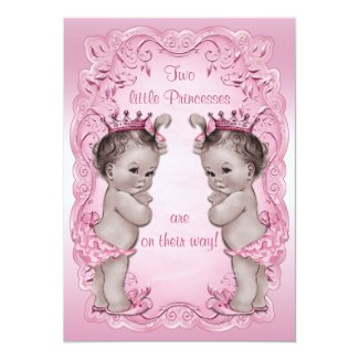 4266905bd2be Pink Vintage Princess Twins Baby Shower Custom Invite