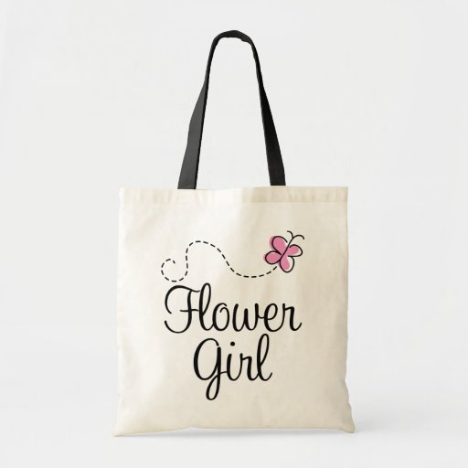 Flower Girl Wedding Gifts: Pink Wedding Party Flower Girl Gift Tote Bag